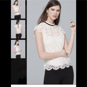 WHBM NWT Cap Sleeve Lace Mock Neck Tie Back Top